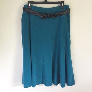 Dress Barn blue midi skirt w/ black woven belt, 8